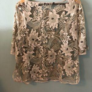Zara Tops - Zara beige lace blouse